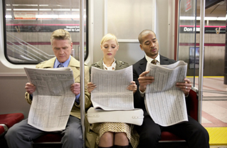 Commuters-Riding-Subway-Reading-Newspapers-Business-People-Photo
